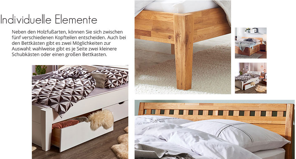 Massivholz-Bettgestell Timber Wildeiche