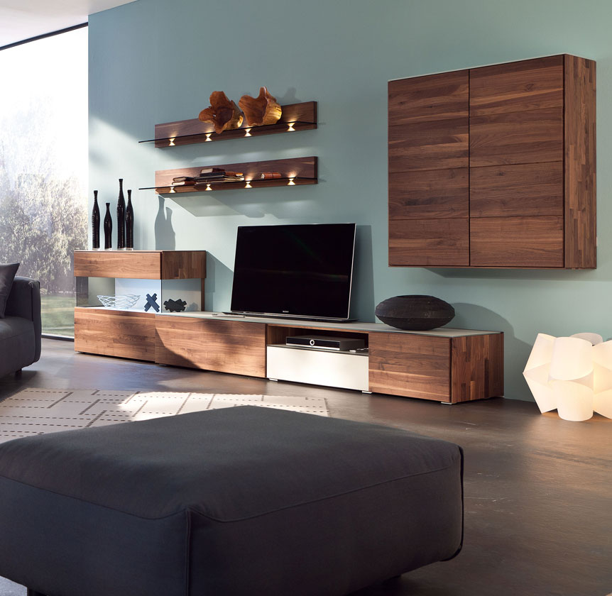 wohnwand holz modern. Black Bedroom Furniture Sets. Home Design Ideas