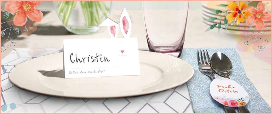 Tischkarten und Anhänger für Ostern