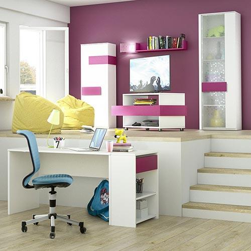 Schreibtisch-Anbauregal Holly Weiß / Fuchsia