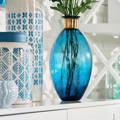 Vase Blau 34 cm hoch