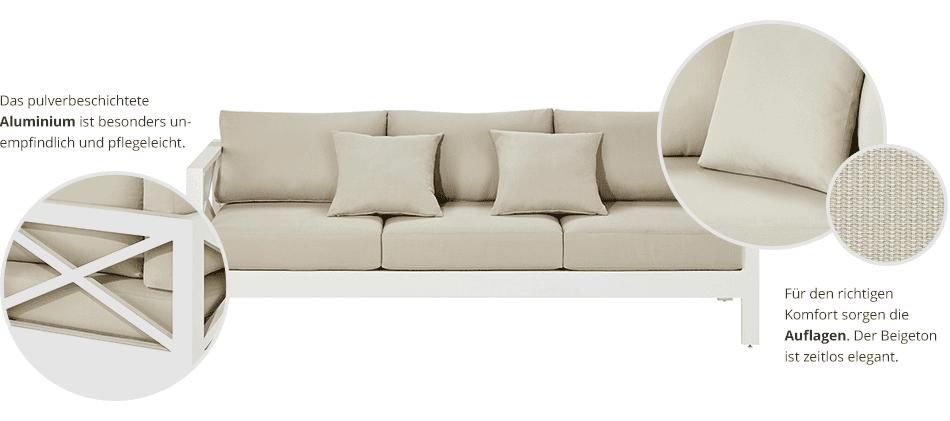 Garten-Sofa, 3-sitzig Virginia