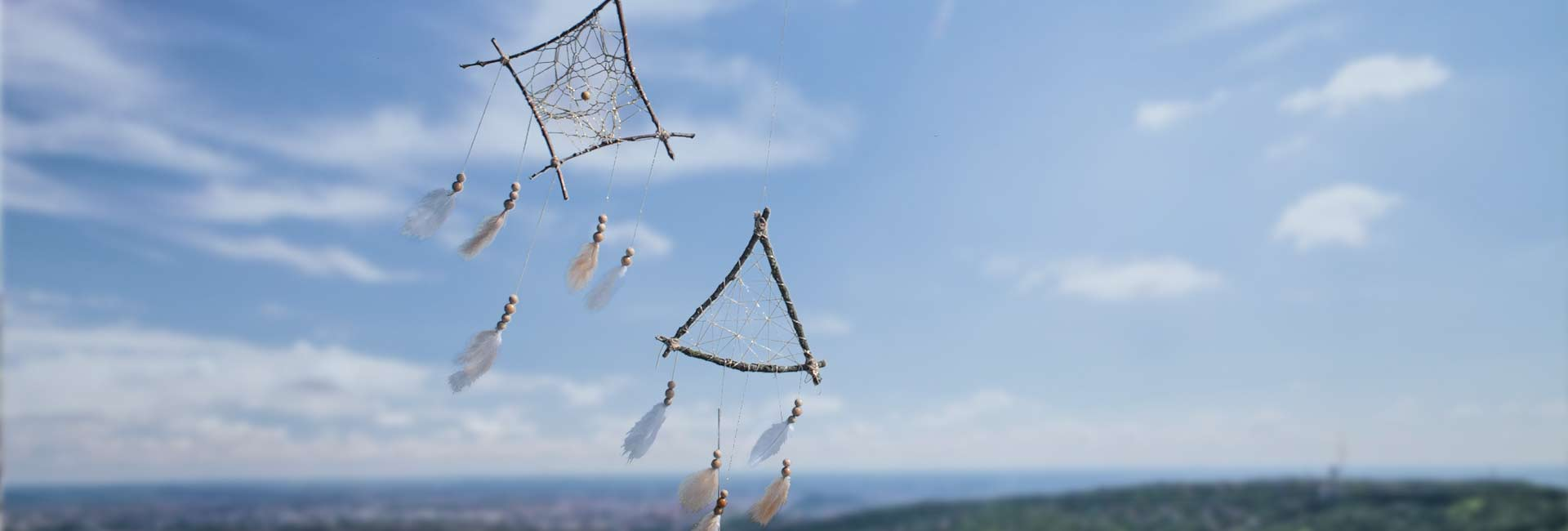 Ein Traumfänger mit Perlen & Federn 1
