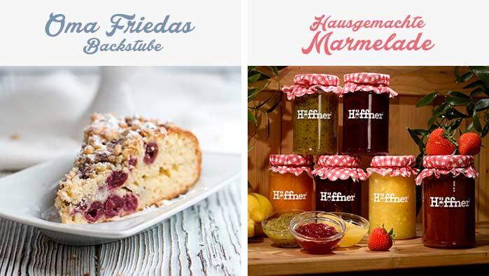 Hausgemachter Kuchen und leckere Marmeladen