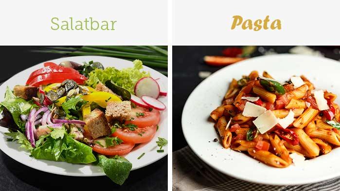 Knackig frischer Salat und mediterrane Pasta-Gerichte