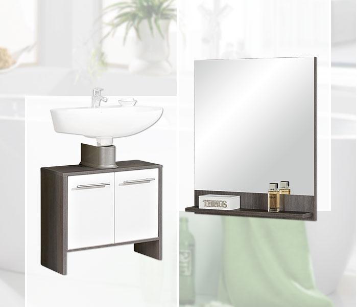 Oasis Waschbecken-Unterschrank und Spiegel