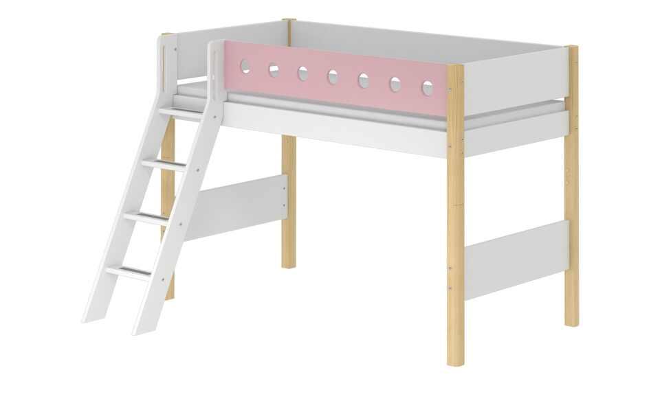 Flexa Mittelhohes Bett 90x200 Weiß Flexa White Birke Massiv
