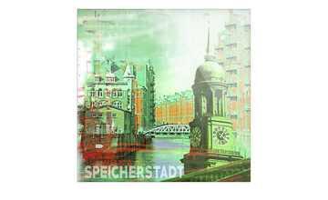 """Glasbild  """"Speicherstadt III"""""""