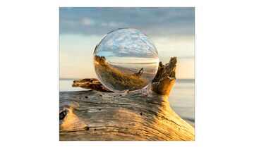 Glasbild 30x30 cm  Drop on Wood