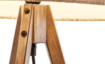 HOME STORY Holz-Stehleuchte, 1-flammig mit Stoffschirm