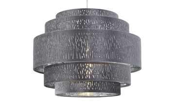 Pendelleuchte, 1-flammig, Stoffschirm grau/silber