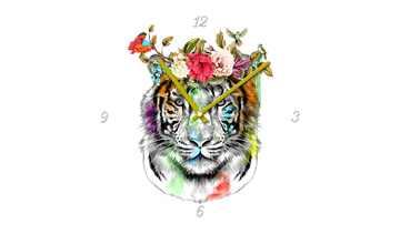 "Glasuhr rund  ""Colourful Tiger"""