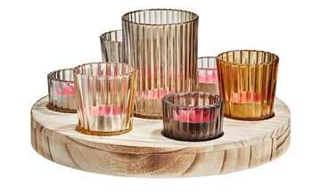 7 Teelichtgläser auf Holztablett