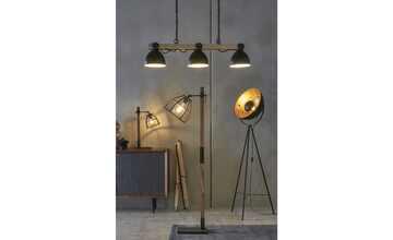 Tischleuchte, 1-flammig, Holz / Metall schwarz