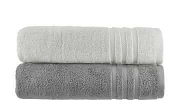 Duschtuch (70 x 140cm), 2er-Set Anthrazit-Hellgrau  Soft Cotton