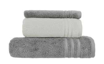 Handtuch-Set Anthrazit-Hellgrau, 3-teilig  Soft Cotton