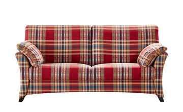 Sofa 3-sitzig rot/kariert - Webstoff Mikado