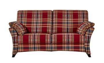 Sofa 2,5-sitzig, verstellbare Armlehnen rot/kariert - Webstoff Mikado