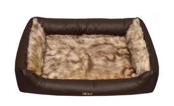 Dogius Kunstlederhundebett  mit Alpakadecke