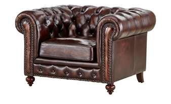 uno Sessel braun - Leder Chesterfield