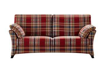 Sofa 2,5-sitzig rot/kariert - Webstoff Mikado