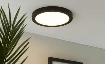 LED-Deckenleuchte, rund, schwarz