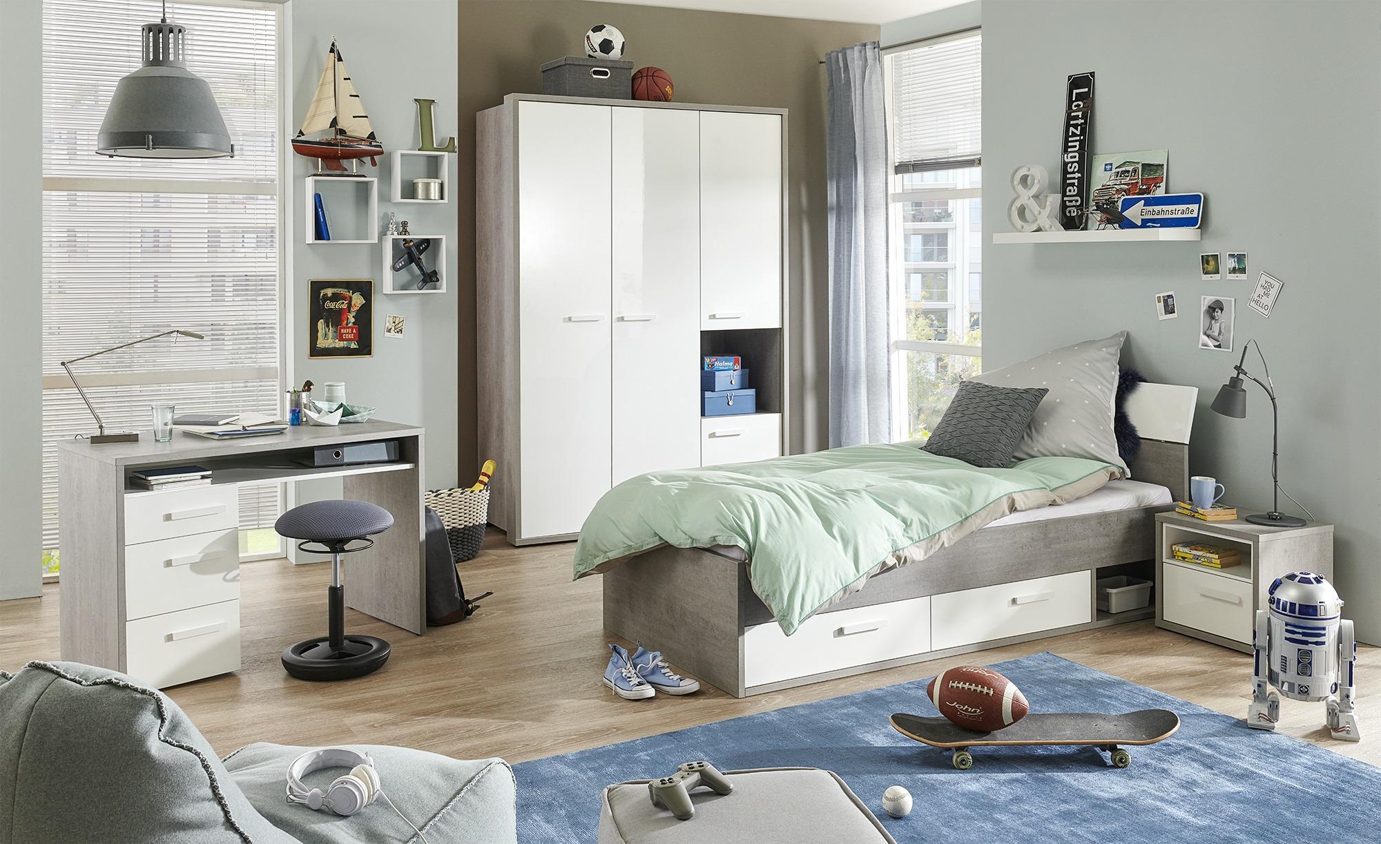 Jugendzimmer in Betonoptik und Hochglanz