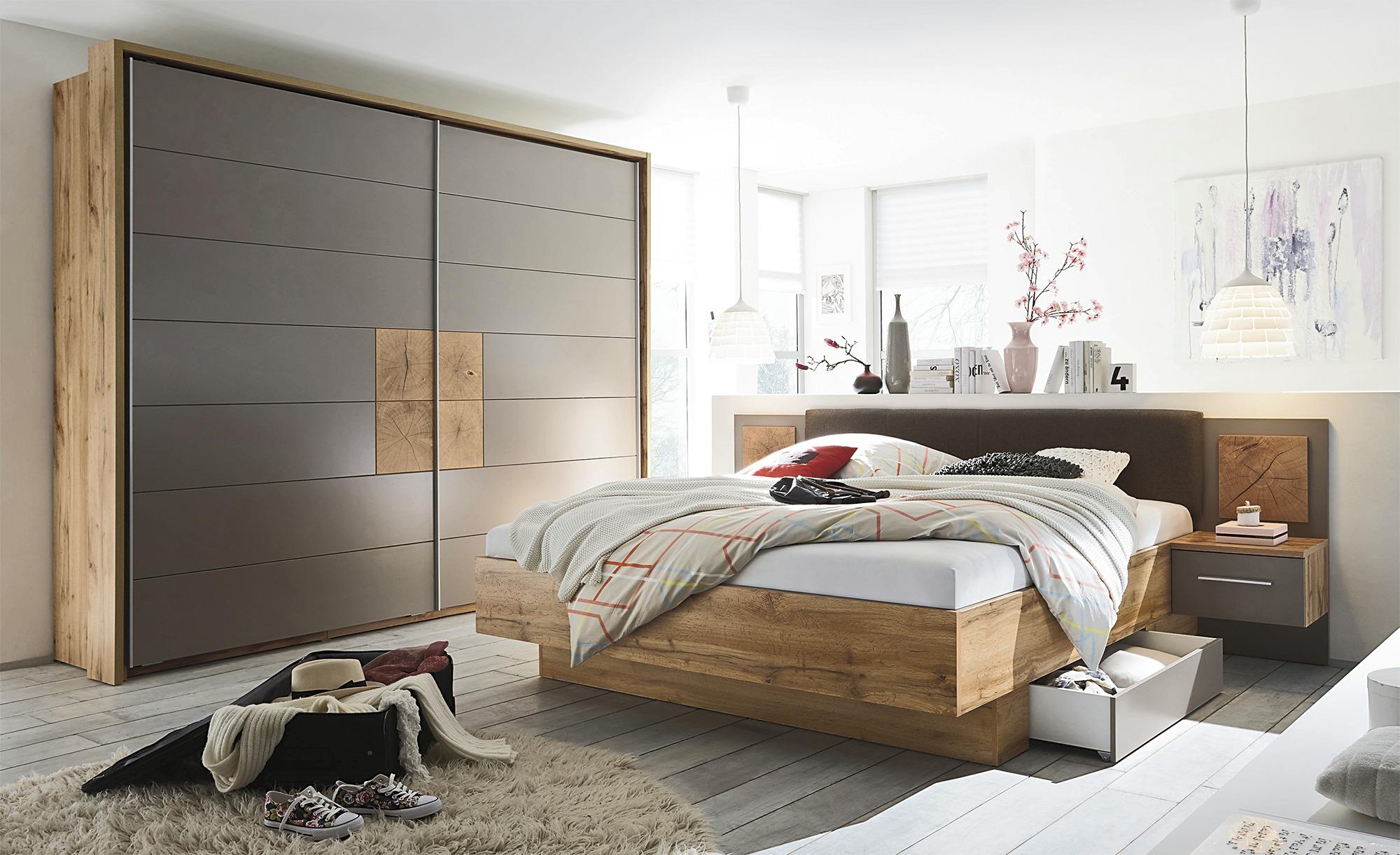 uno Schlafzimmer 4-teilig, mit Bettkasten Campus ¦ holzfarben ¦ Maße (cm): B: 270 H: 225 T: 61 Komplett-Schlafzimmer - Höffner