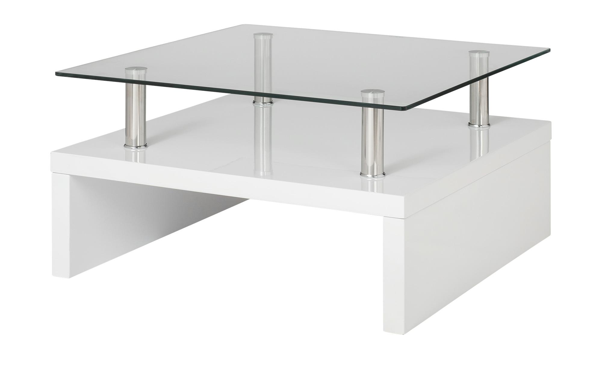 Couchtisch weiß Metall Glas  Spargi ¦ weiß ¦ Maße (cm): B: 70 H: 40 Tische > Couchtische > Couchtische rechteckig - Höffner