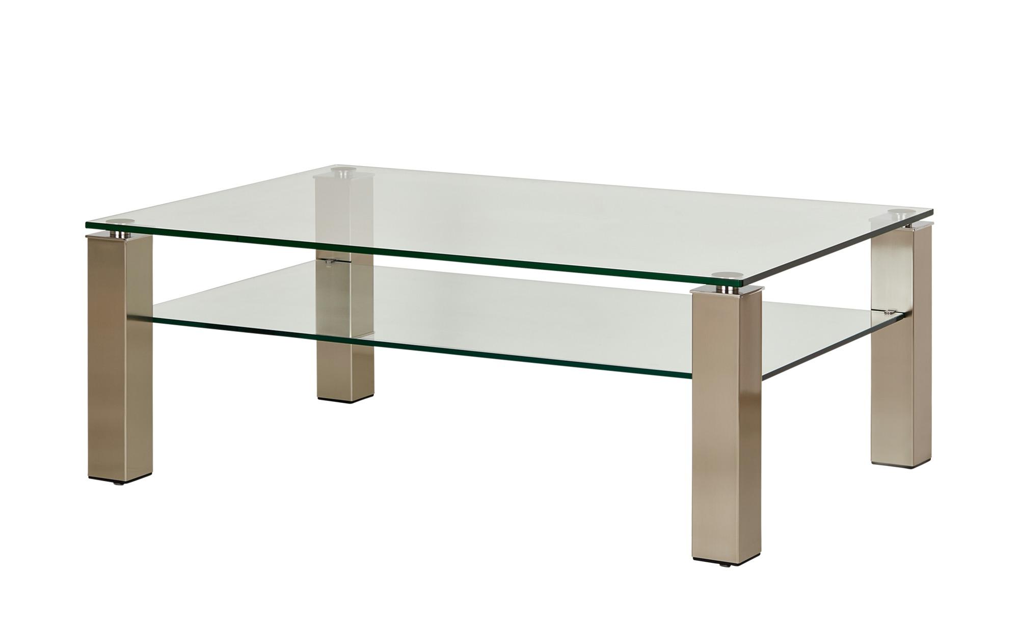 Glas-Couchtisch mit Rollen  Heze ¦ silber ¦ Maße (cm): B: 80 H: 46 T: 80 Tische > Couchtische > Couchtische rechteckig - Höffner