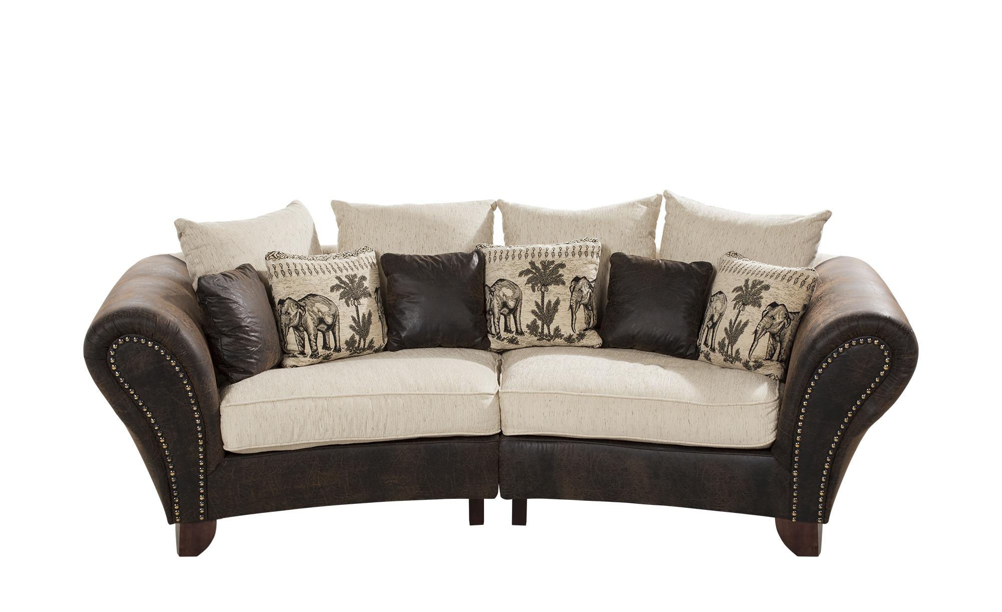 smart Big Sofa braun/beige - Mikrofaser/Webstoff Nadja