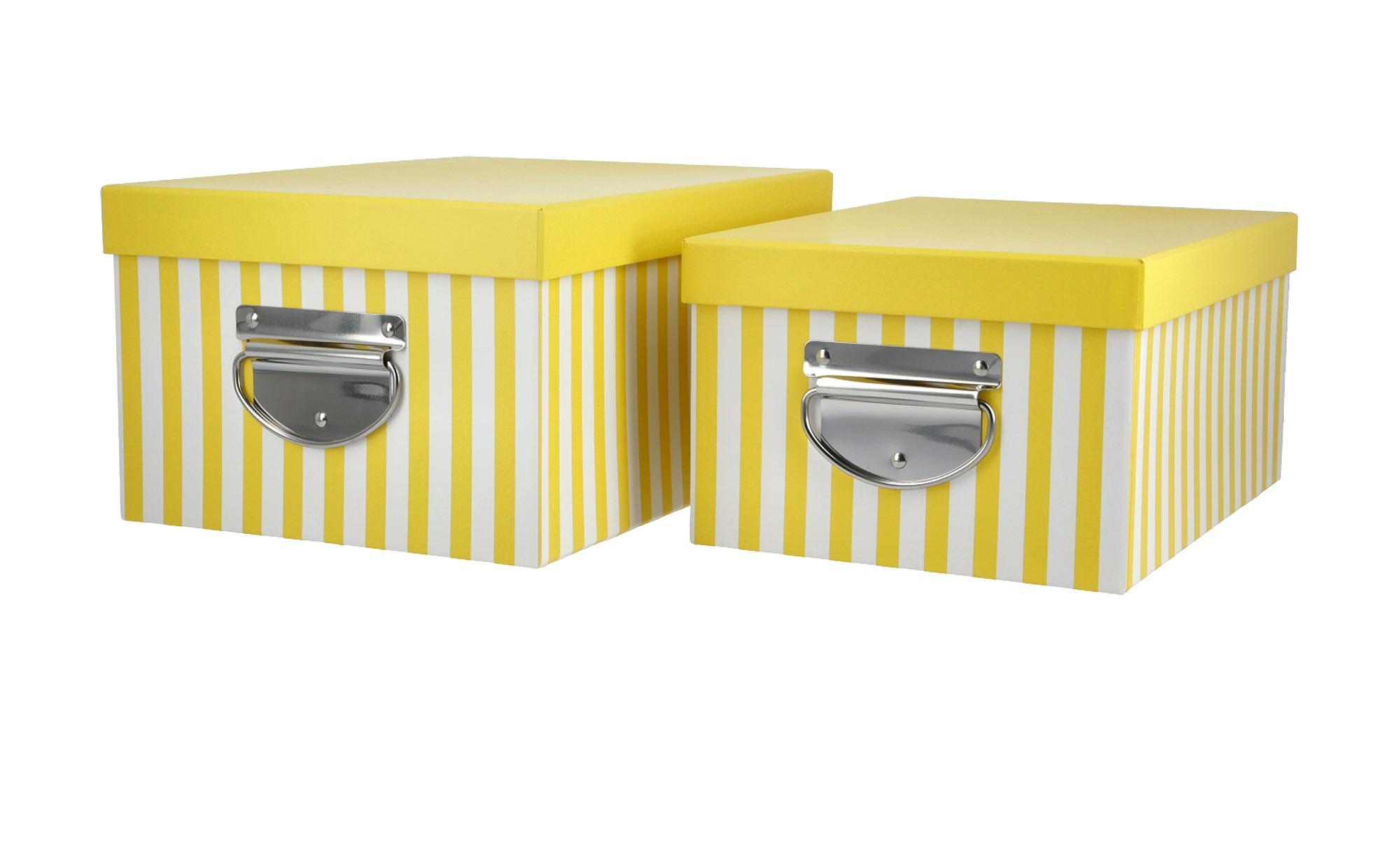 Aufbewahrungsbox, 2er-Set ¦ gelb ¦ Metall, Papier Regale > Regal-Aufbewahrungsboxen - Höffner