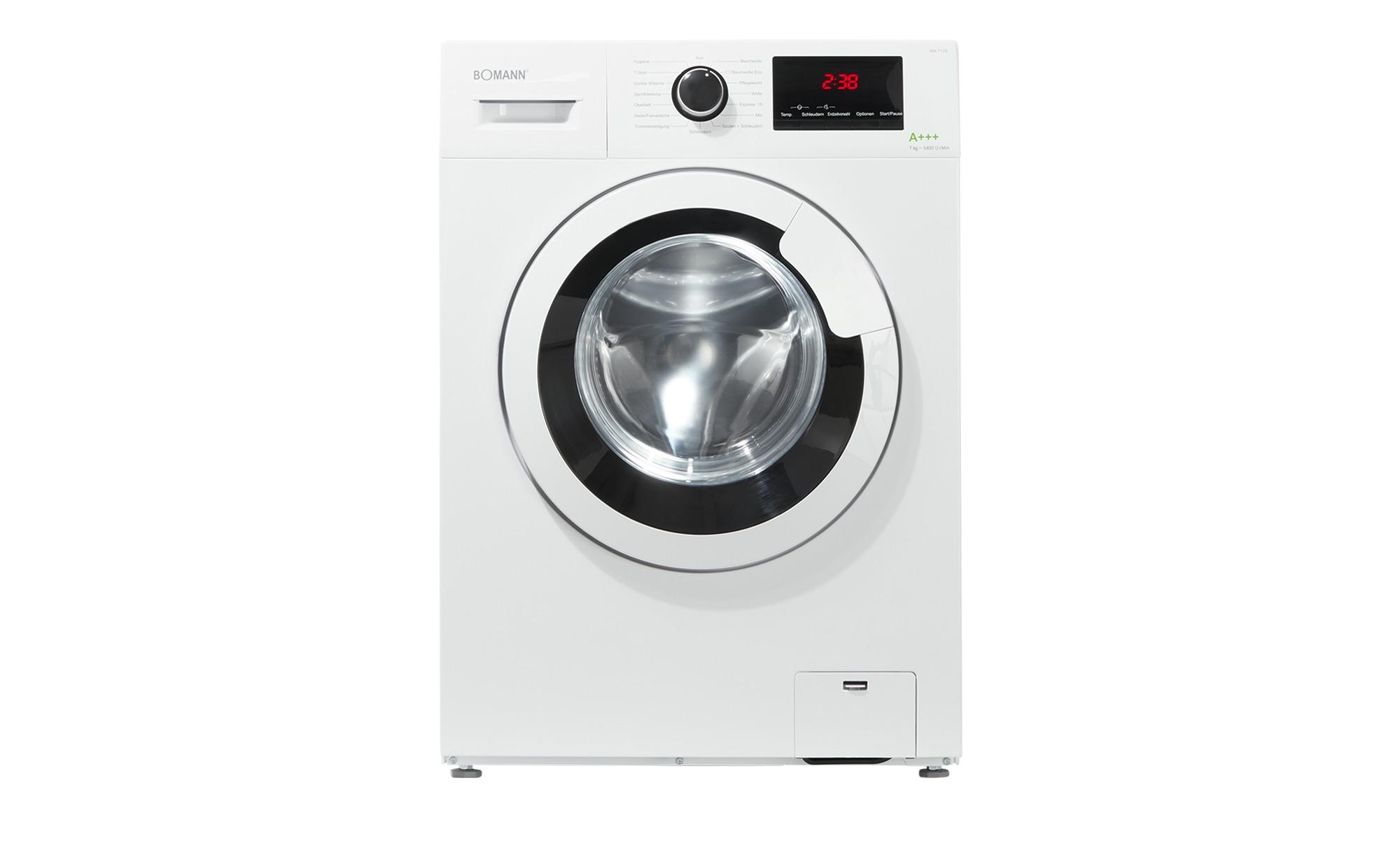 Bomann Waschvollautomat  WA 7170 ¦ weiß ¦ Kunststoff, Edelstahl ¦ Maße (cm): B: 59,5 H: 85 T: 40 Elektrogeräte > Waschmaschinen - Höffner