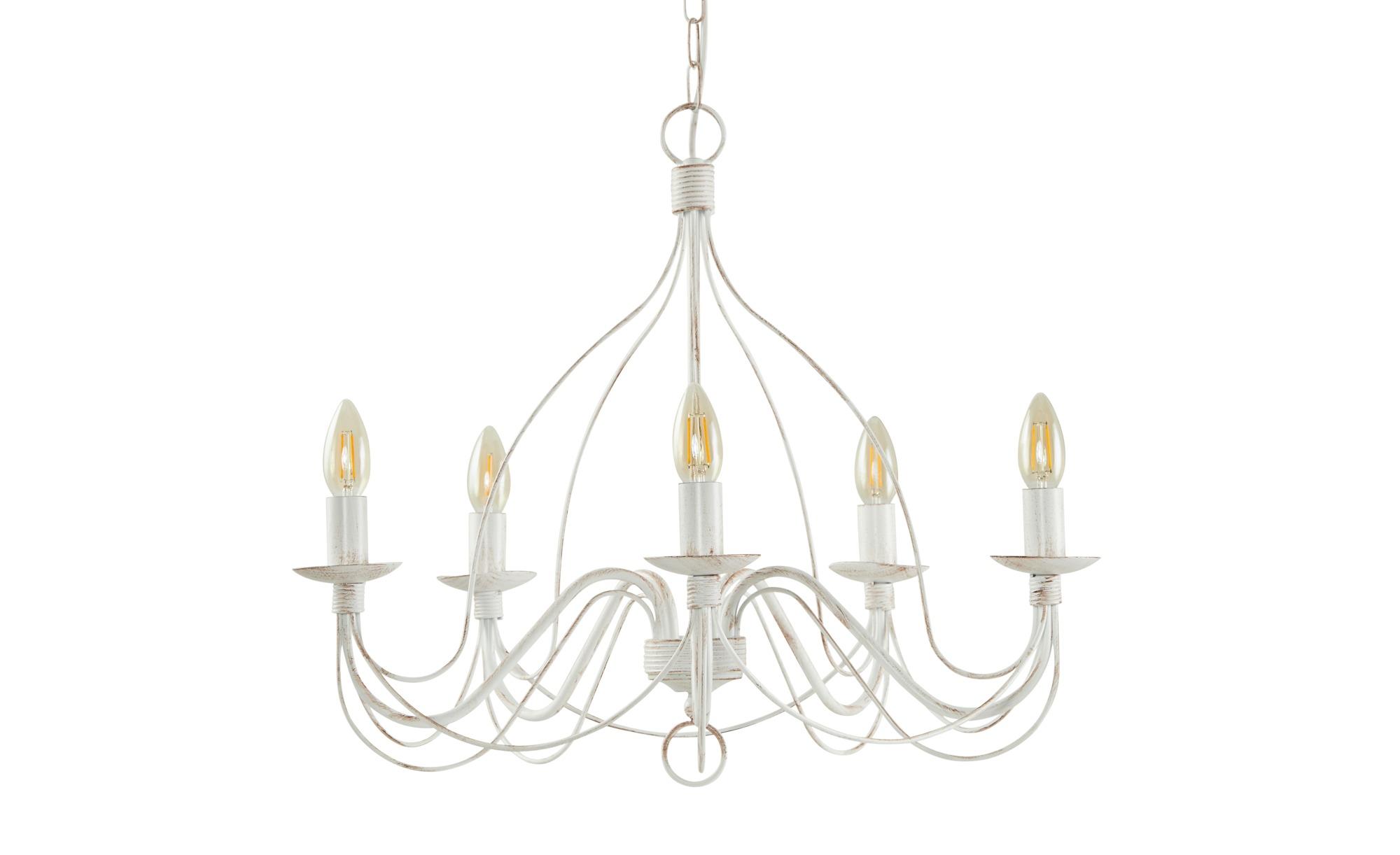 Kronleuchter, 5-flammig, weiß-braun ¦ weiß ¦ Maße (cm): H: 52 Ø: 55 Lampen & Leuchten > Innenleuchten > Kronleuchter - Höffner