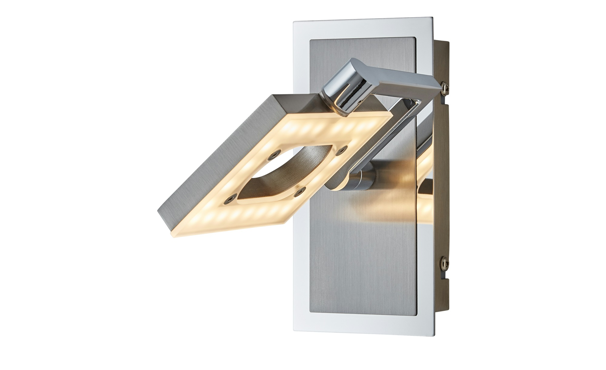 Fischer-Honsel LED- Wandstrahler, 1-flammig, nickel matt, Kopf eckig ¦ silber ¦ Maße (cm): B: 9,5 T: 17,5 Lampen & Leuchten > Innenleuchten > Wandleuchten - Höffner