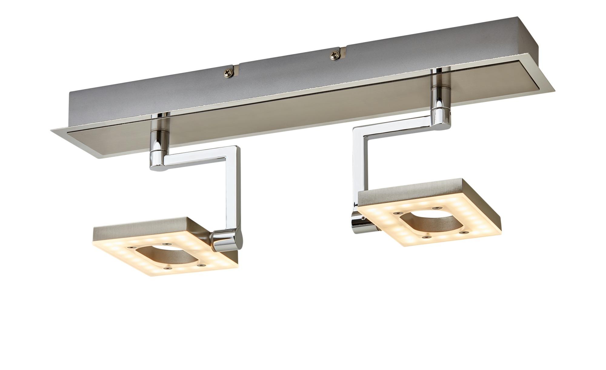 Fischer-Honsel LED- Strahler, 2-flammig, nickel matt, Kopf eckig ¦ silber ¦ Maße (cm): B: 9,5 H: 17,5 Lampen & Leuchten > LED-Leuchten > LED-Strahler & Spots - Höffner