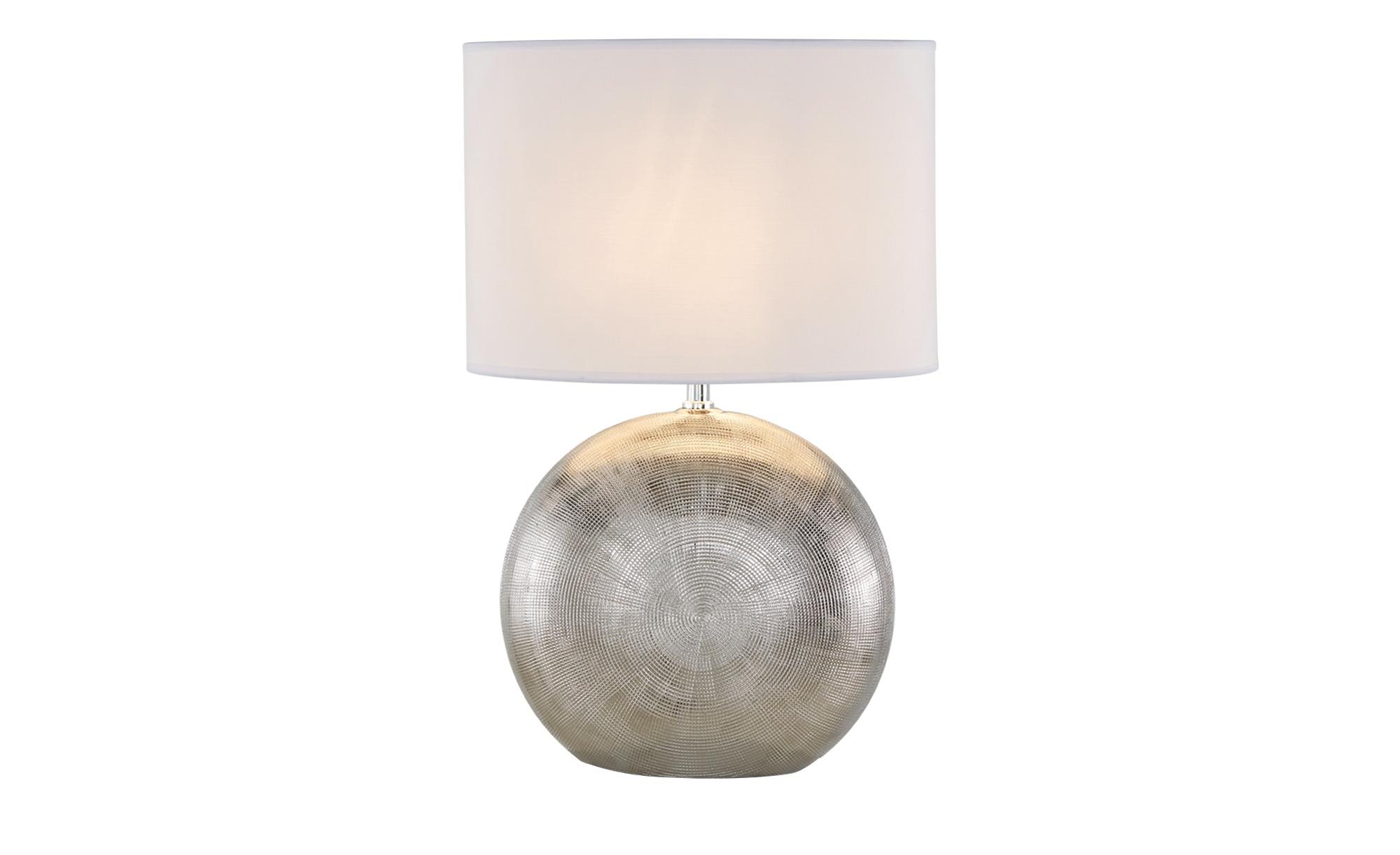 Tischleuchte 1-flg. Fuß mit Ornament,Schirm oval ¦ silber ¦ Maße (cm): H: 53 Lampen & Leuchten > Innenleuchten > Tischlampen - Höffner