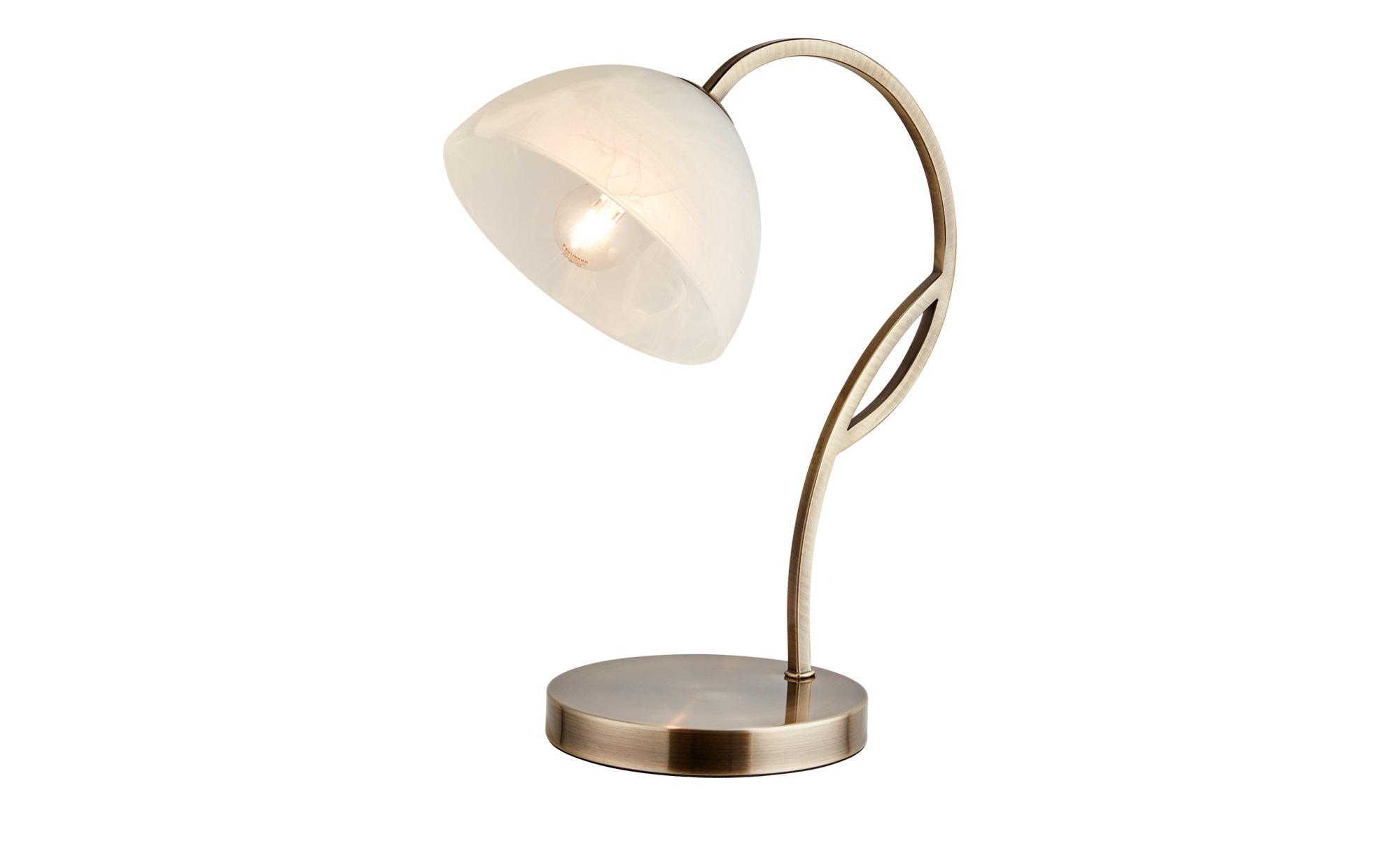 Tischleuchte, 1-flammig, altmessing, Glas alabaster ¦ gold ¦ Maße (cm): H: 37 Lampen & Leuchten > Innenleuchten > Tischlampen - Höffner
