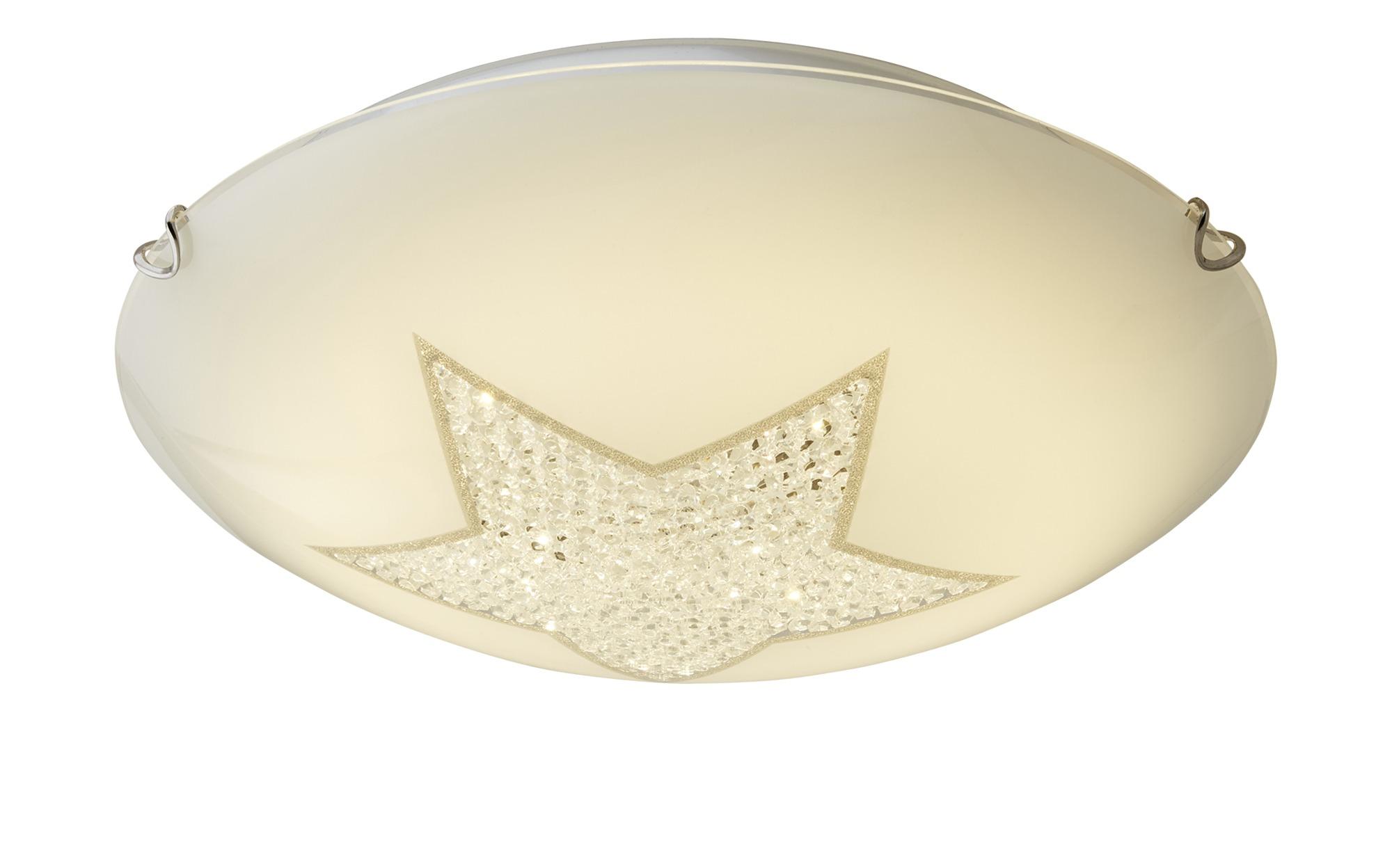 LED- Deckenleuchte, 1-flammig, Glas mit Kristallstern ¦ weißØ: [40.0] Lampen & Leuchten > Innenleuchten > Deckenleuchten - Höffner