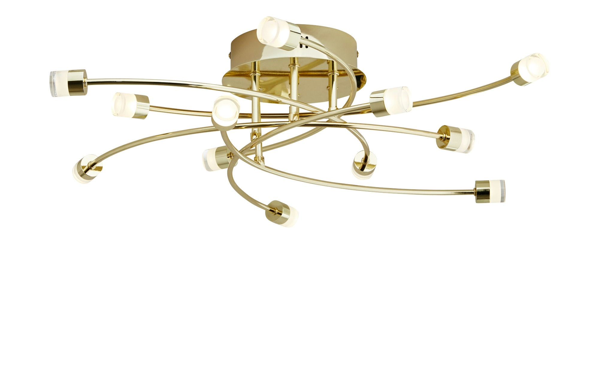LED- Deckenleuchte, 12-flammig, messing poliert, Arme geschwungen ¦ gold ¦ Maße (cm): H: 17 Ø: [64.0] Lampen & Leuchten > Innenleuchten > Deckenleuchten - Höffner