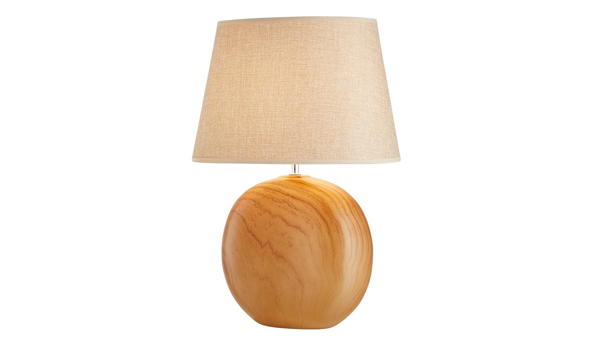 Tischleuchte, 1-flammig, Stoffschirm beige ¦ braun ¦ Maße (cm): H: 48 Lampen & Leuchten > Innenleuchten > Tischlampen - Höffner