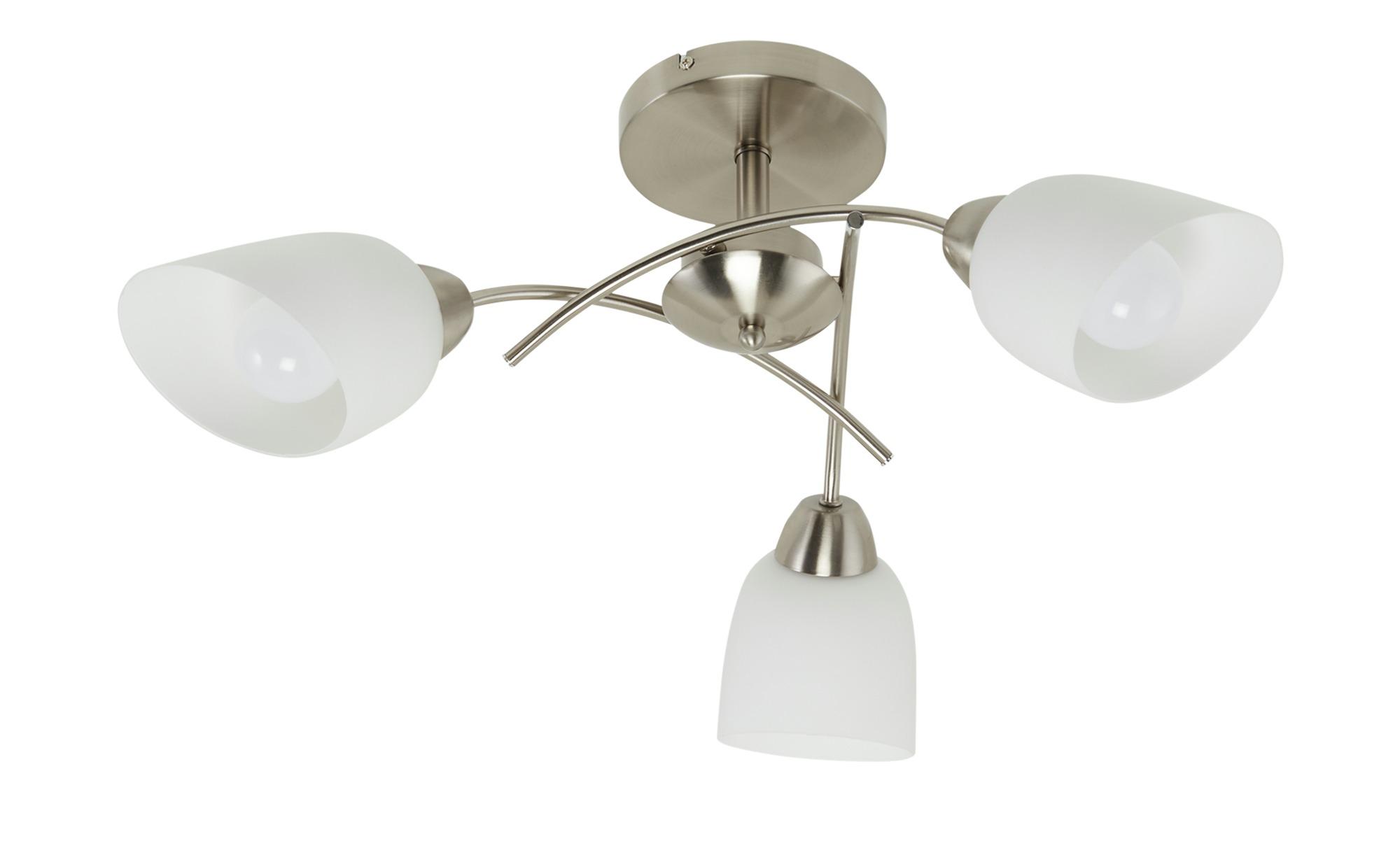 Deckenleuchte, 3-flammig, Nickel-matt, Glas weiß ¦ silber ¦ Maße (cm): H: 29 Ø: 70 Lampen & Leuchten > Innenleuchten > Deckenleuchten - Höffner