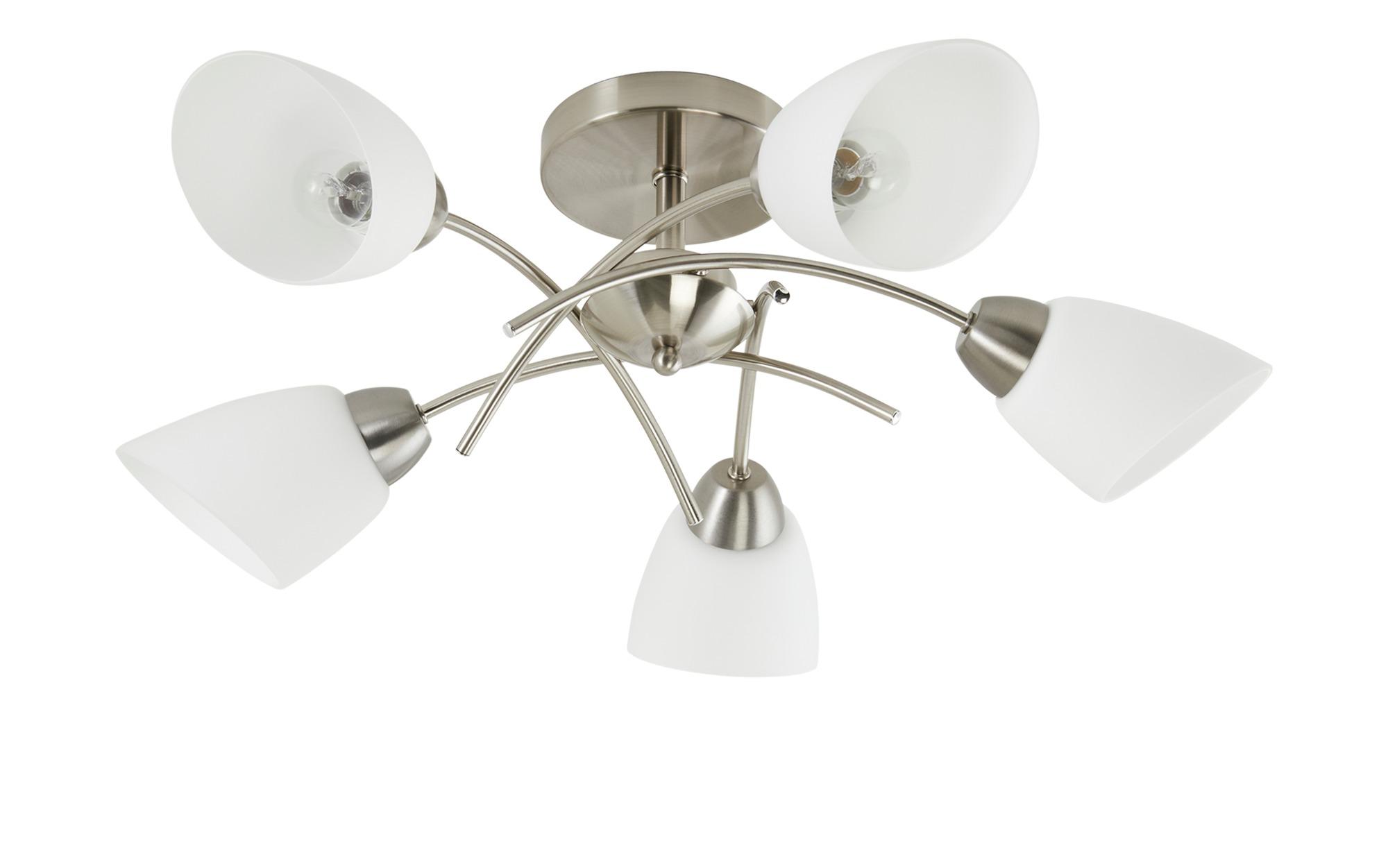 Deckenleuchte, 5-flammig, Nickel-matt, Glas weiß ¦ silber ¦ Maße (cm): H: 29 Ø: 70 Lampen & Leuchten > Innenleuchten > Deckenleuchten - Höffner