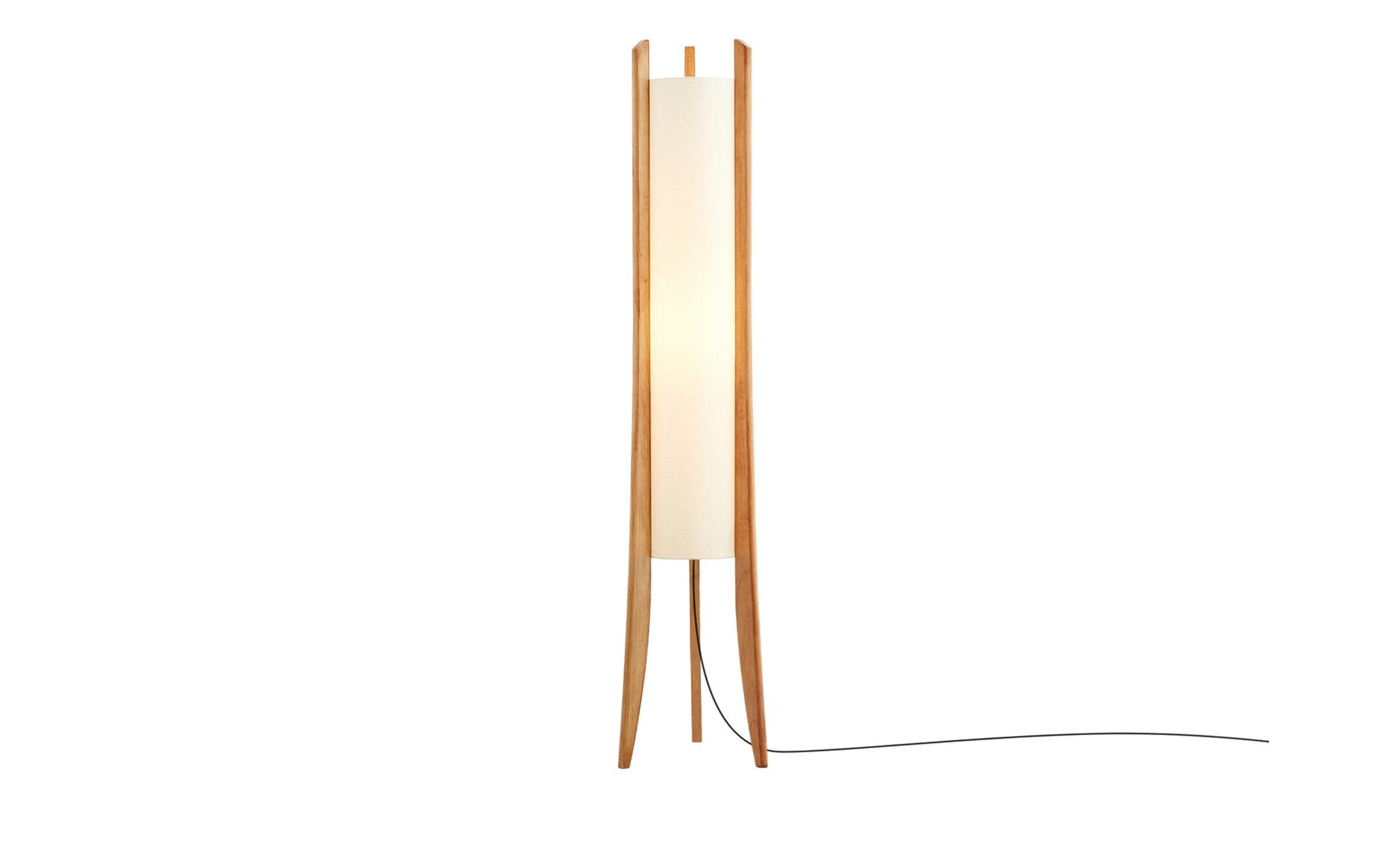HOME STORY Stehleuchte mit Holzfüssen, 1-flammig ¦ braun ¦ Maße (cm): H: 140 Ø: [24.5] Lampen & Leuchten > Innenleuchten > Stehlampen - Höffner