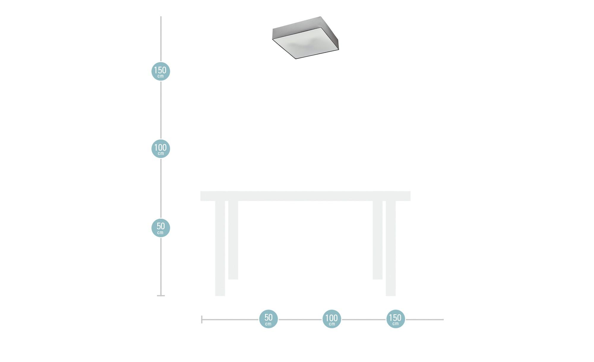 Trio Deckenleuchte mit eckigen Stoffschirm ¦ grau ¦ Maße (cm): B: 50 H: 17 T: 50 Lampen & Leuchten > Innenleuchten > Deckenleuchten - Höffner