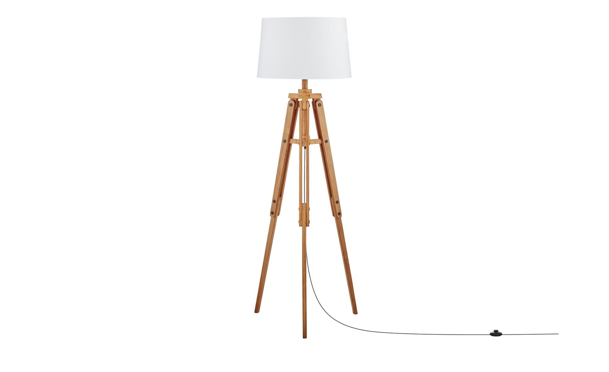 Lampen Licht Trend Timber Stehleuchte Mit Holzfuss H126cm Braun
