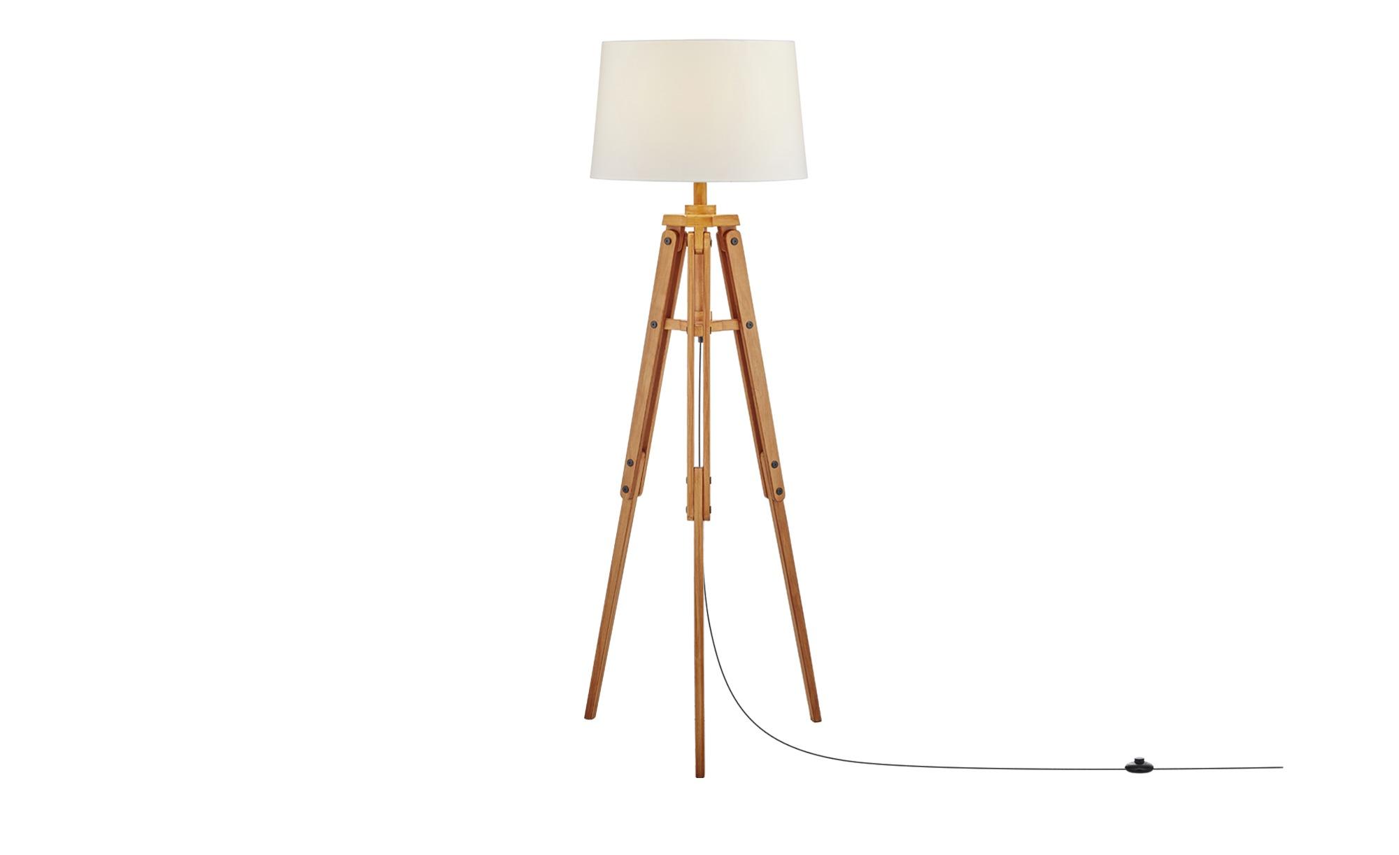 HOME STORY 3-Bein Stehleuchte, 1-flammig Holz ¦ braun ¦ Maße (cm): H: 158 Ø: 51 Lampen & Leuchten > Innenleuchten > Stehlampen - Höffner