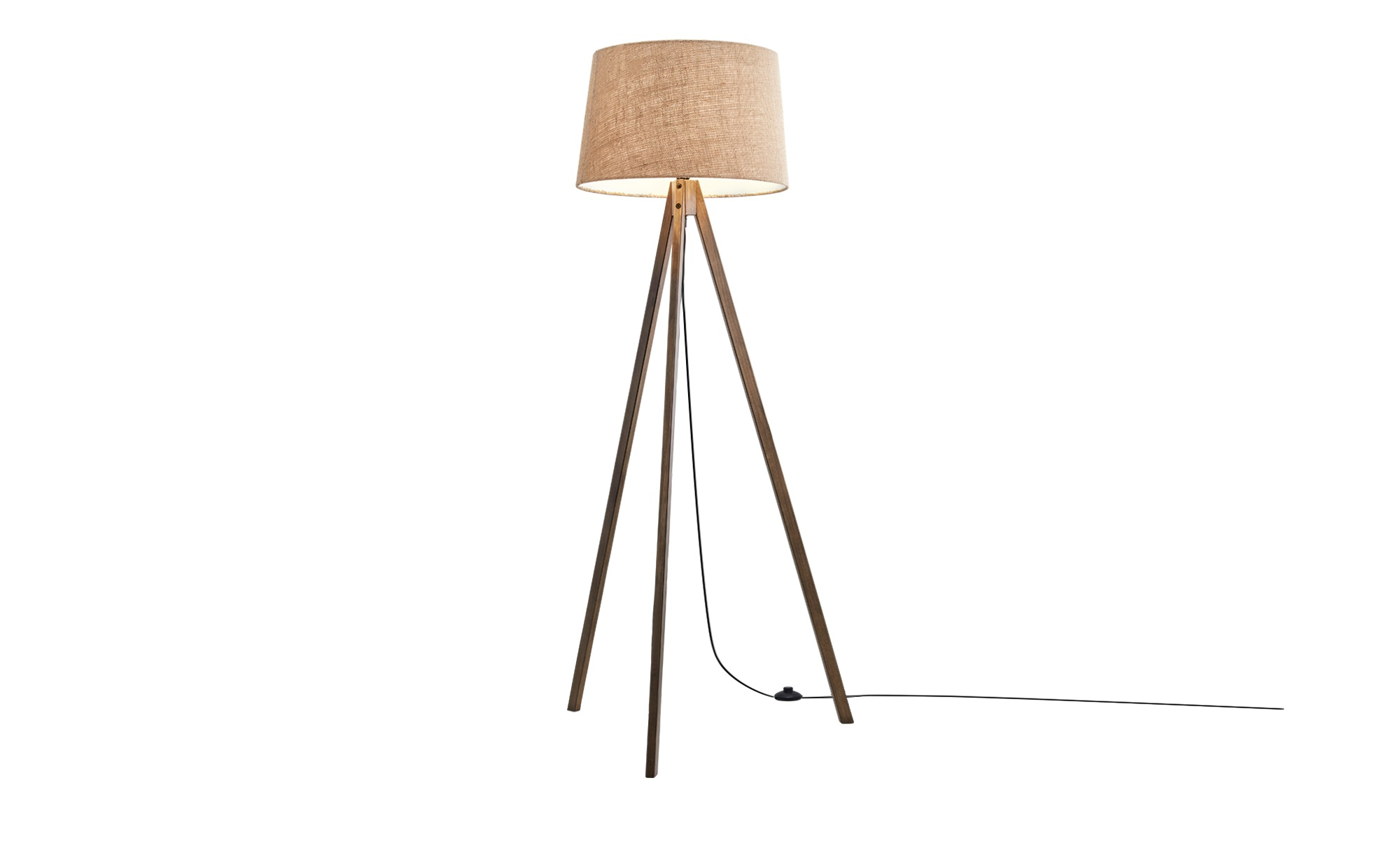 HOME STORY Holz-Stehleuchte, 1-flammig mit Stoffschirm ¦ Maße (cm): H: 155 Ø: 48 Lampen & Leuchten > Innenleuchten > Stehlampen - Höffner