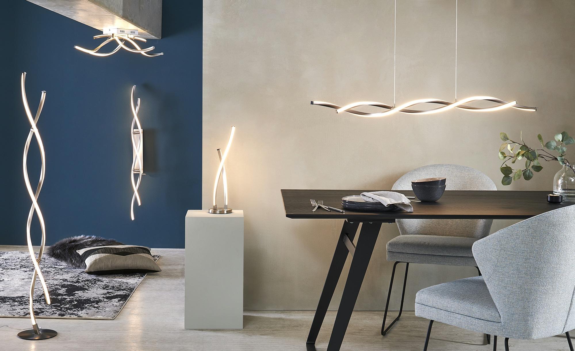 Paul Neuhaus LED-Stehleuchte, 2-flammig geschwungen ¦ silber ¦ Maße (cm): H: 136 Lampen & Leuchten > Innenleuchten > Stehlampen - Höffner