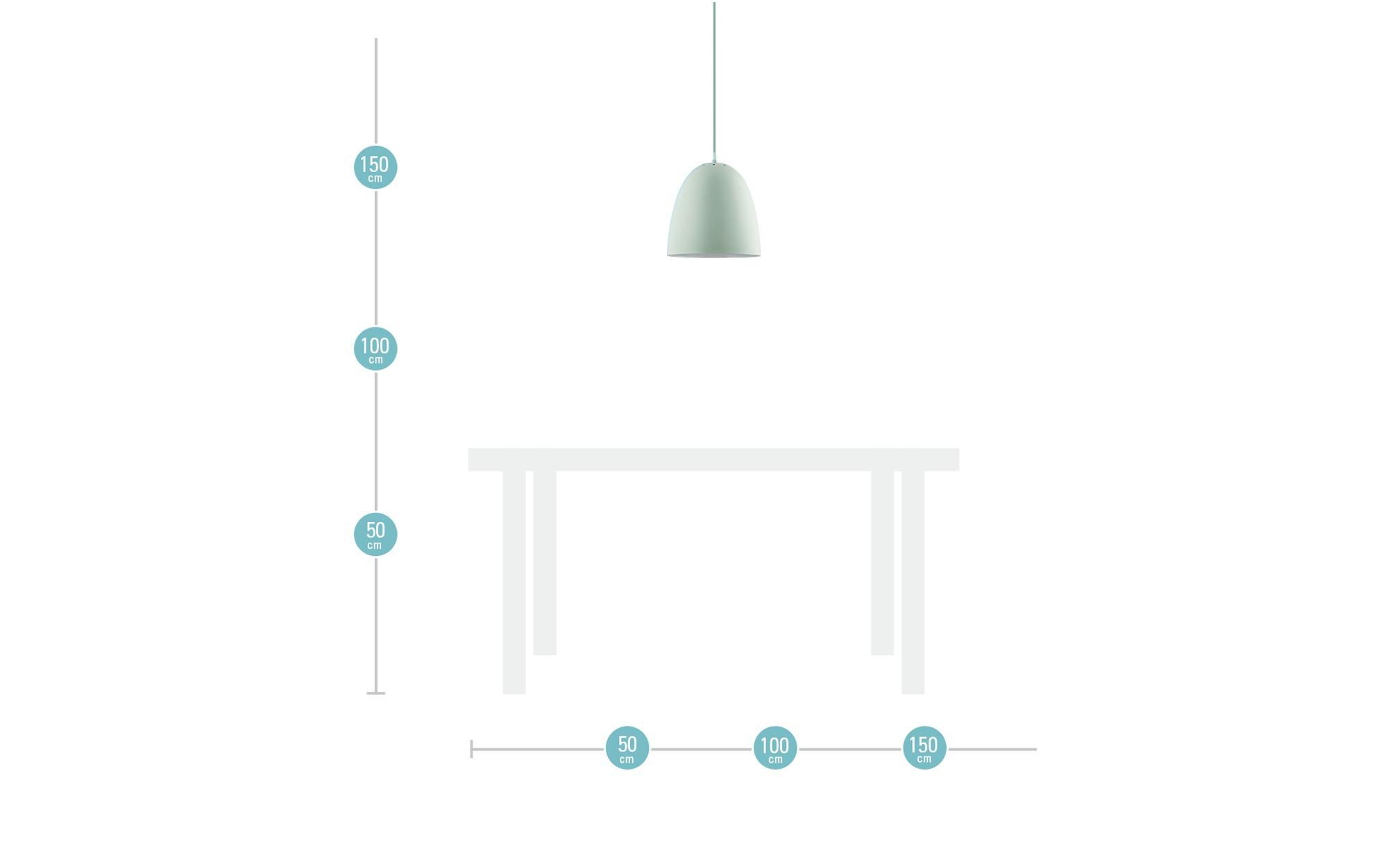 Pendelleuchte, 1-flammig, grün ¦ grün ¦ Maße (cm): H: 150 Ø: [30.0] Lampen & Leuchten > Innenleuchten > Pendelleuchten - Höffner